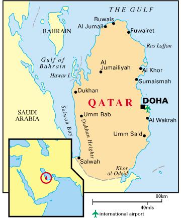 Географско положение на държавата Катар