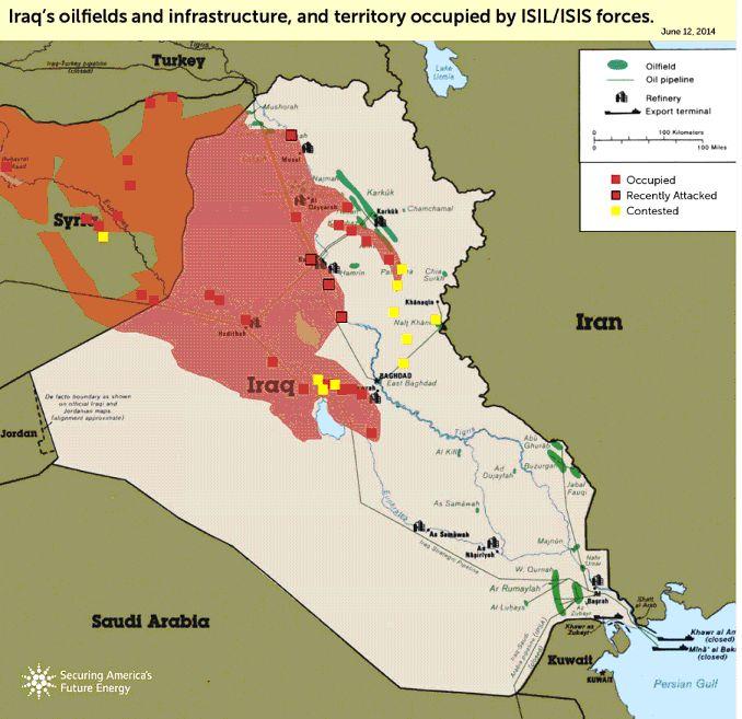 Петролни полета и инфраструктура в Ирак и Сирия, окупирани от ИДИЛ